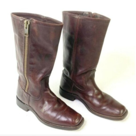 Frye Heath Maple Leather Side Outer Zipper Boots 7